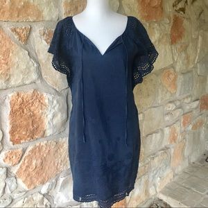 Madewell Navy silk blend Eyelet shift dress
